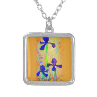 Blue Iris & Dijon Mustard Pillow by Sharles Silver Plated Necklace