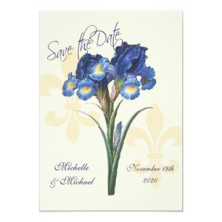 Blue Iris Fleur de Lis Save the Date Custom Announcement