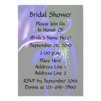 Blue Iris Floral Bridal Wedding Shower Invitation