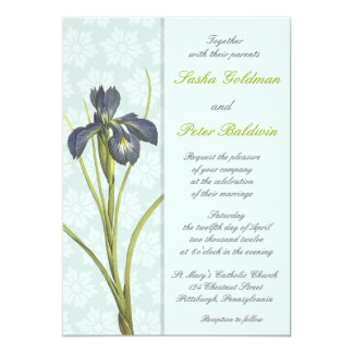 Blue Iris Floral Wedding Invitation