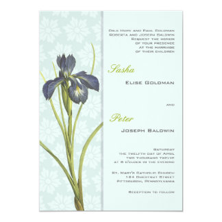 Blue Iris Floral Wedding Invitation 2