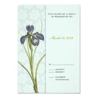 Blue Iris Floral Wedding Invitation RSVP 2