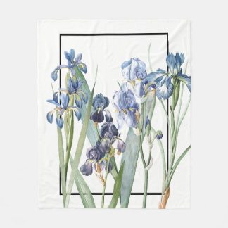 Blue Iris Flower Garden Fleece Blanket