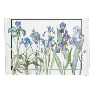 Blue Iris Flower Garden Leaves Redoute Pillowcase