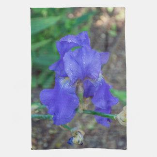 Blue iris flower kitchen towel