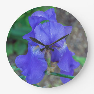 Blue iris flower wall clock