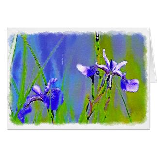 Blue Iris Garden Flowers Florists Designer Art Greeting Card