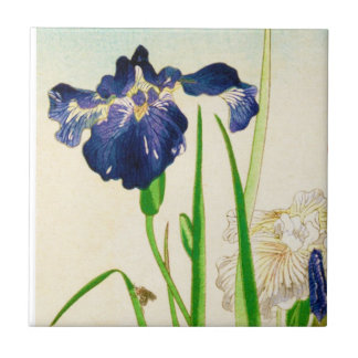 Blue Iris - Japanese watercolor print Small Square Tile