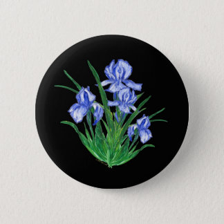 Blue Iris on black 6 Cm Round Badge
