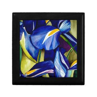Blue Iris original art watercolor flowers Small Square Gift Box