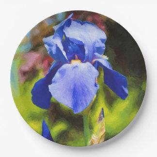 Blue Iris Paper Plate