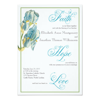 Blue Iris Script Christian Wedding Invitation