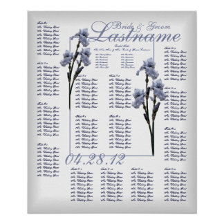Blue Iris Wedding Guest Seating Chart Poster