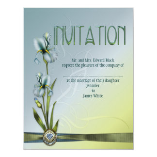 Blue Iris Wedding 4.25x5.5 Paper Invitation Card