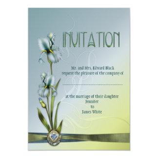 Blue Iris Wedding Suite 5x7 Paper Invitation Card
