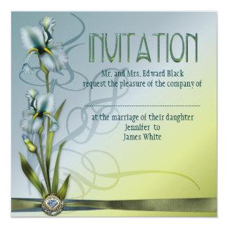 Blue Iris Wedding Suite 5.25x5.25 Square Paper Invitation Card