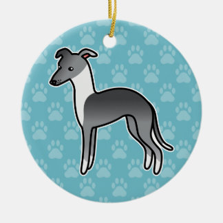 Blue Irish Italian Greyhound Cartoon Dog Christmas Ornament