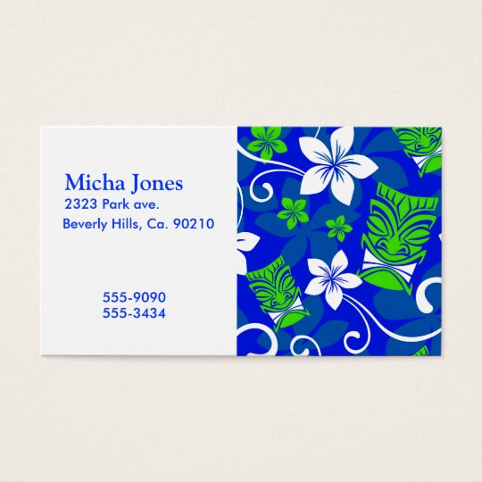 Blue Island Floral Tiki Masks Business Card