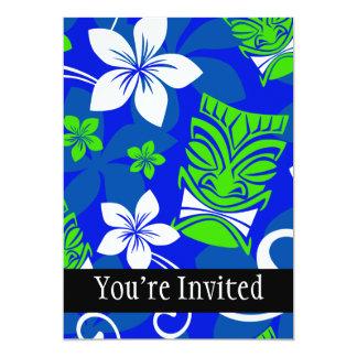 Blue Island Floral Tiki Masks 5x7 Paper Invitation Card