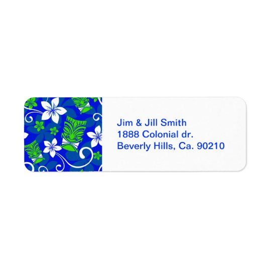 Blue Island Floral Tiki Masks Return Address Label