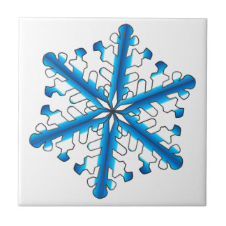Blue Isolated Snowflake Small Square Tile