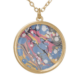 Blue Italian Marble Pattern Gold Plated Necklace