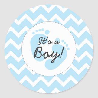 blue it's a boy baby shower envelope seals round sticker