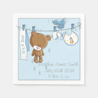 Blue It's a Boy Baby Shower Party Napkins Disposable Napkins