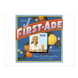 Blue J First-Ade Orange Vintage Label Postcard