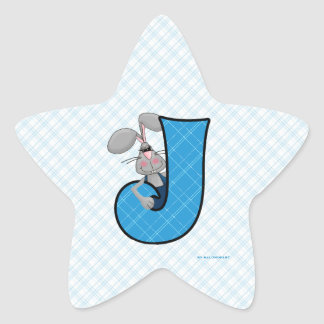 "Blue Jackrabbit Monogram ""J"" Star Stickers"