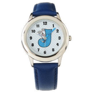 "Blue Jackrabbit Monogrammed ""J"" Boys Watch"