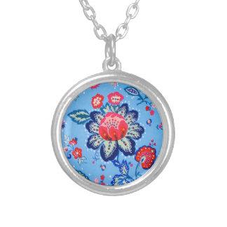 blue jacobian round pendant necklace