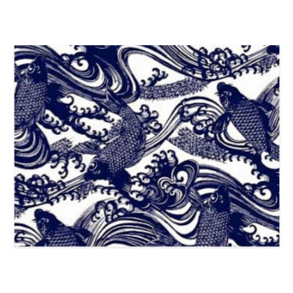 Blue Japanese Tattoo Koi Fish Pattern Postcards