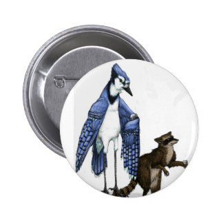 Blue Jay and Raccoon Enjoy a Latte... on a Button. 6 Cm Round Badge
