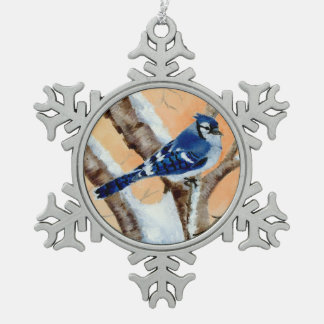 Blue Jay At Sunset Snowflake Pewter Christmas Ornament