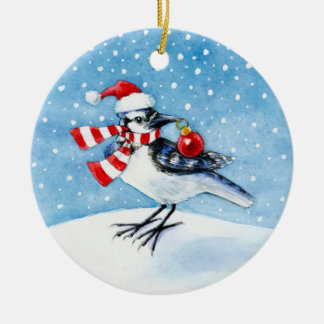 Blue Jay Christmas or Winter ornament