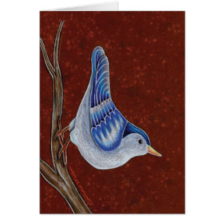 Blue Jay Climbing on Tree Trunk Greeting Card