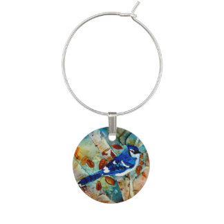 Blue Jay in the Tree Wine Charm