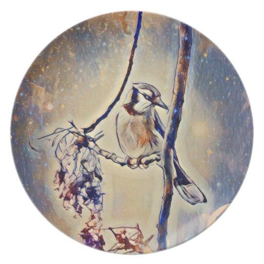 Blue Jay Melamine Plate