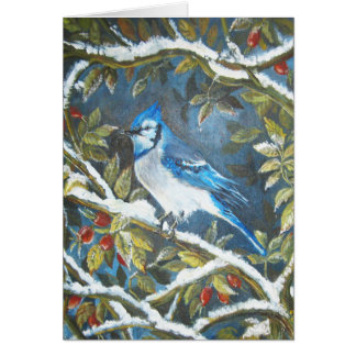 Blue jay painting greeting card