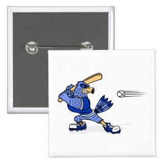 Blue Jay Playing Baseball Pinback Buttons