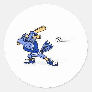 Blue Jay Playing Baseball Round Sticker