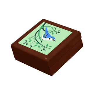 Blue Jay Stylized Art Keepsake Box