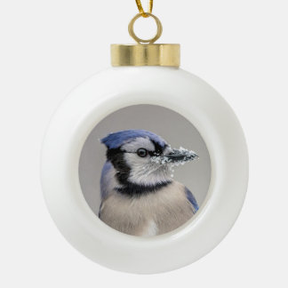 Blue jay with snow on his beak ceramic ball decoration