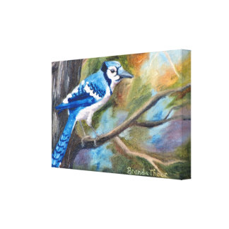 Blue Jay Wrapped Canvas Print
