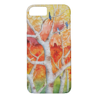 Blue jays in Autumn iPhone 7 Case