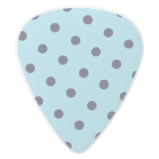 Blue Jazzed Polk Dots White Delrin Guitar Pick