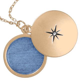 Blue Jean Denim Background Round Locket Necklace