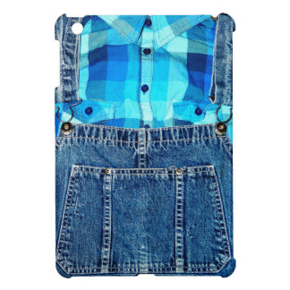 Blue Jean Denim Overalls and Plaid Shirt Cover For The iPad Mini