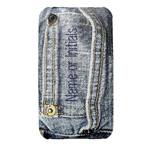 Blue Jean Denim Pocket - Add your name or initials Case-Mate iPhone 3 Cases
